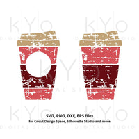 Distressed Coffee cup svg Paper Take out cup svg Coffee love svg Grunge Coffee cup monogram svg dxf png clipart files for Cricut Silhouette-kYoDigitalStudio