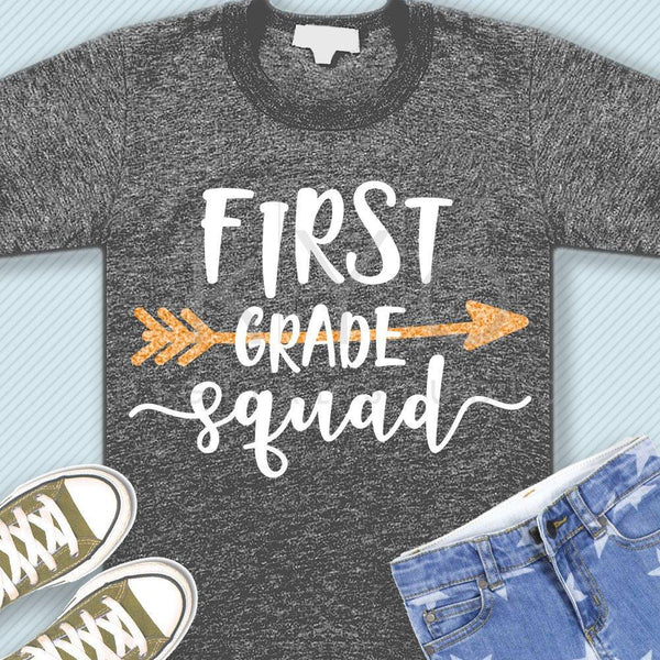 First grade squad svg png dxf eps files 1st grade shirt svg Back to school svg Squad shirt svg for Cricut Design space Silhouette cut files-kYoDigitalStudio