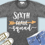 Sixth grade squad svg png dxf eps files 6th grade shirt svg Back to school svg Squad shirt svg for Cricut Design space Silhouette cut files-kYoDigitalStudio