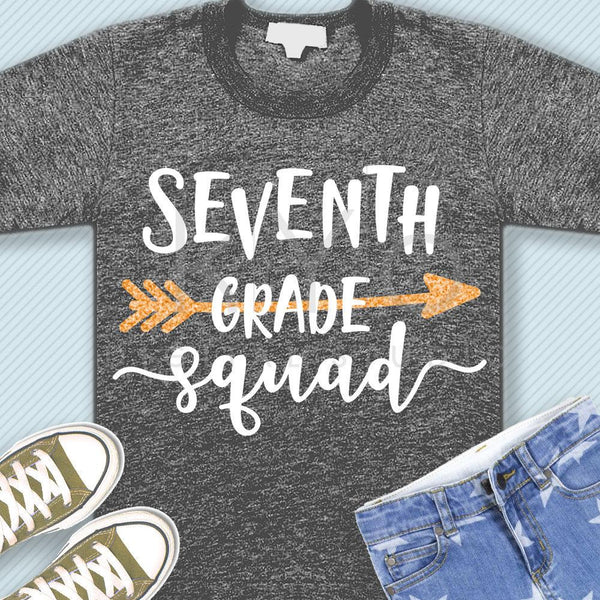 Seventh grade squad svg png dxf eps files 7th grade shirt svg Back to school svg Squad shirt svg for Cricut Design space Silhouette cut file-kYoDigitalStudio
