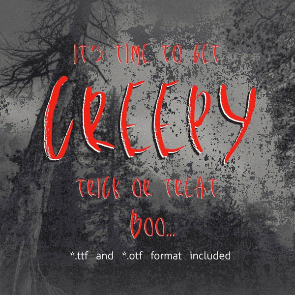Creepy Bush Halloween true type font ttf otf font for printing Halloween font Distressed font Grunge font Creepy script installable font-kYoDigitalStudio