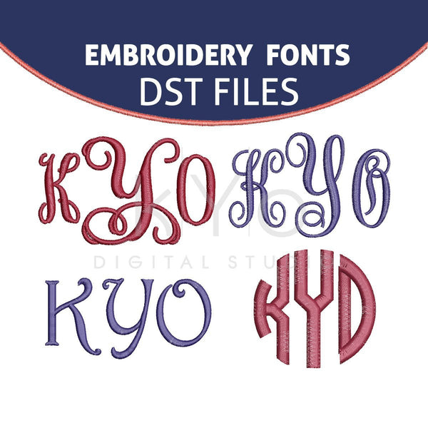 DST Embroidery Monogram Fonts Bundle, Elna DST Embroidery files, Interlocking Vine Circle Monogram Harrington embroidery files-kYoDigitalStudio