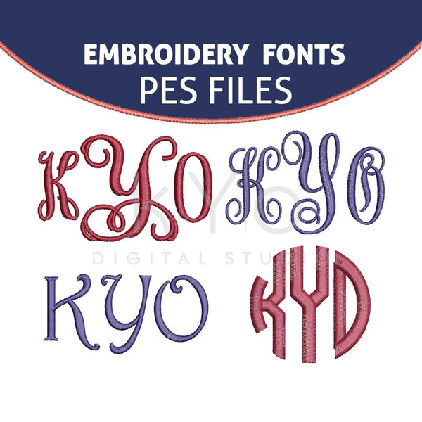 Embroidery Monogram Font Bundle PES format files-kYoDigitalStudio