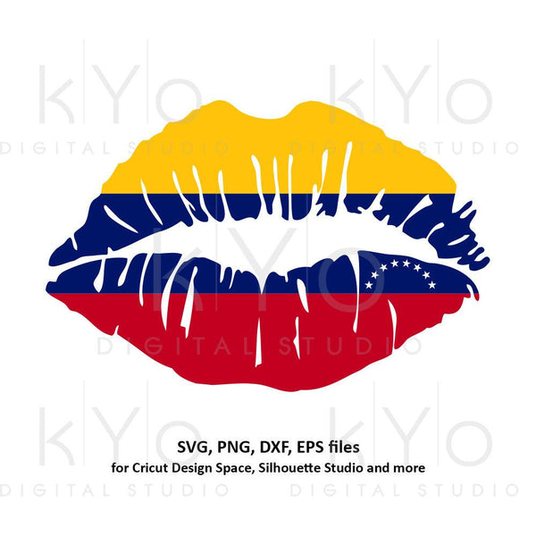 Venezuela flag Girl Lips svg Venezuelan flag lips svg South America svg files for Cricut Silhouette png Clipart Vector dxf Cutting file-kYoDigitalStudio