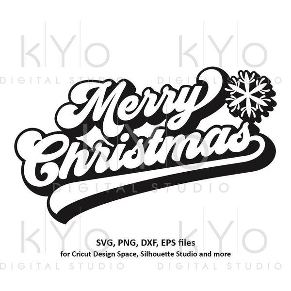 Merry Christmas banner svg Snowflake svg Christmas party svg Merry Christmas card svg files for Cricut and Silhouette dxf files-kYoDigitalStudio
