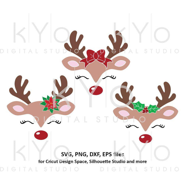 Reindeer face svg Christmas reindeer svg Eyelashes svg Cute reindeer svg Bow svg Holly svg files for Cricut Silhouette Christmas dxf files-kYoDigitalStudio