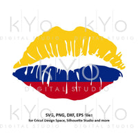 Colombia flag Girl Lips svg Colombian flag lips svg Colombian girl shirt svg files for Cricut Silhouette png Clipart Vector dxf Cutting file-kYoDigitalStudio