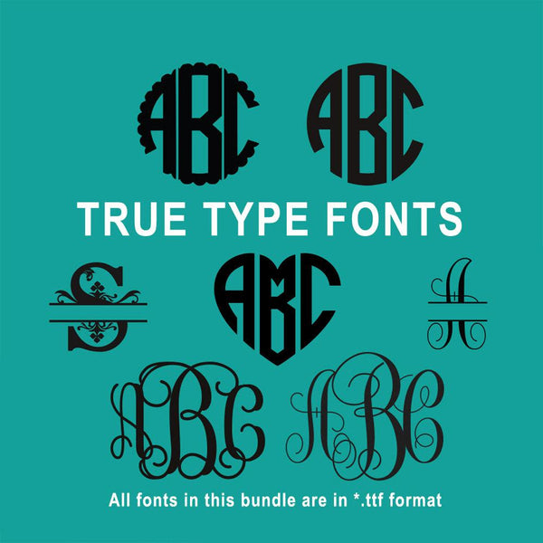 True Type Monogram Font Bundle for Cricut Design Space and Silhouette Studio-kYoDigitalStudio