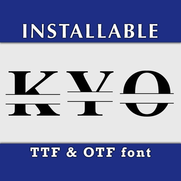 Roman Split Monogram ture type font in TTF and OTF format-kYoDigitalStudio