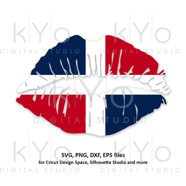 Dominican Republic flag Girl Lips svg Caribbean Country Flag Clipart Vector Cut Cutting files for Cricut Silhouette-kYoDigitalStudio