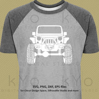 Off Road Lifted Jeep with winch 4x4 svg png dxf eps files | kyo Digital Studio