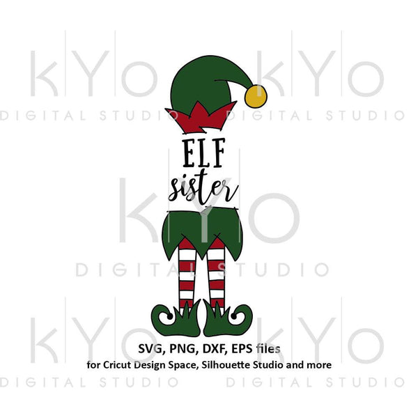 Elf sister svg, Christmas svg files, Elf hat svg, Elf legs svg, Cute elf svg files for Cricut Silhouette Christmas dxf files Elf clipart-kYoDigitalStudio