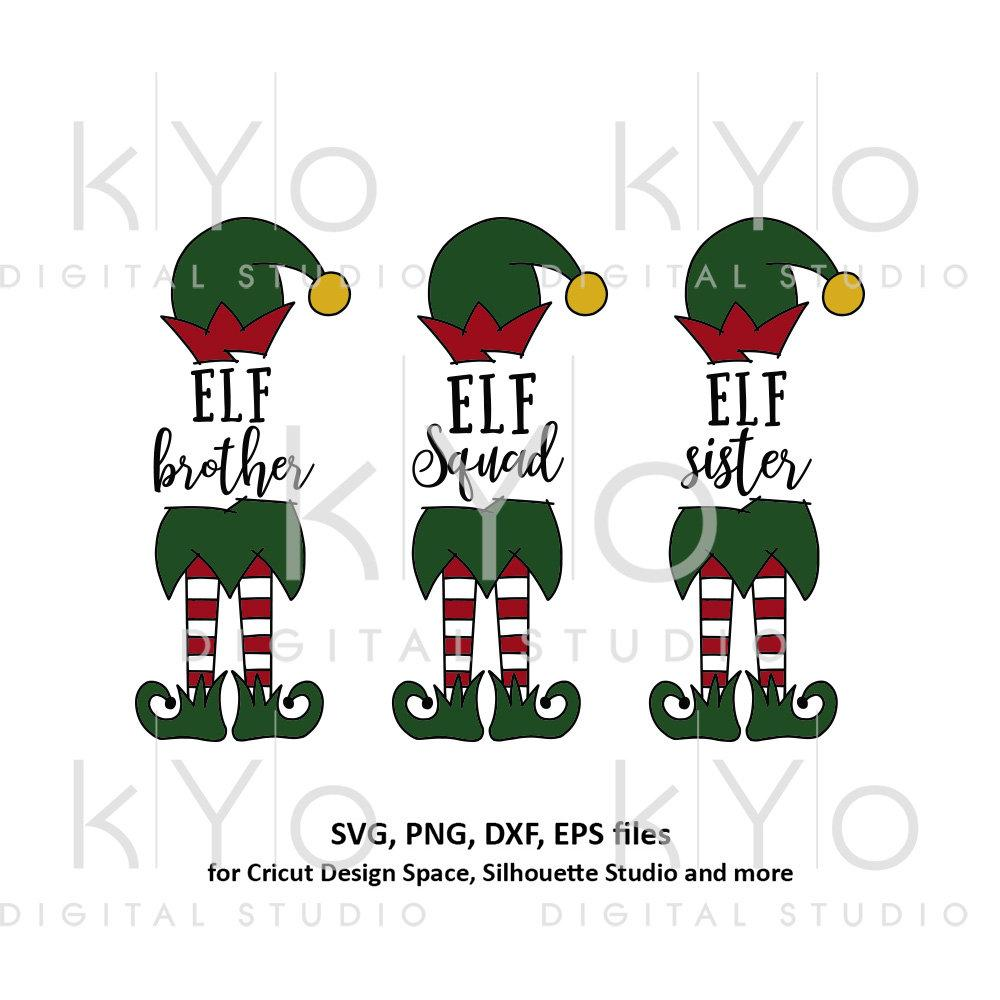 Christmas Elf Squad Sister Brother Svg Cut Files Kyodigitalstudio Com