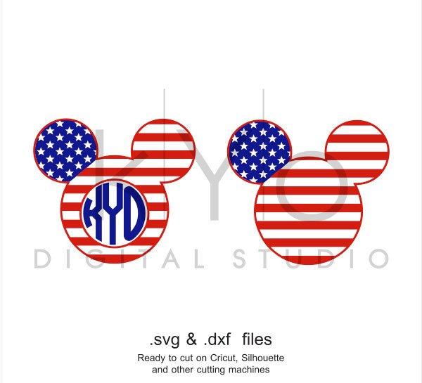 American flag Mickey Ears 4th of July svg Fourth of july svg, US flag svg png dxf studio3 files for Cricut Silhouette American monogram svg-kYoDigitalStudio