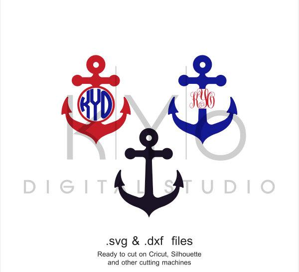 Anchor SVG cutting file, Anchor Monogram SVG, Nautical svg files, Summer SVG files, svg files for Cricut and Silhouette, Cameo files-kYoDigitalStudio