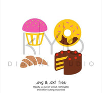 Cakes SVG cutting file, Croissant SVG, Birthday Cake svg files, Doughnut SVG files, svg files for Cricut and Silhouette, Cameo files-kYoDigitalStudio