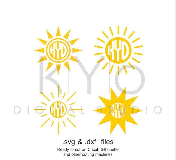 Sun Monogram SVG cutting file, Sun SVG files, Summer svg files, svg files for Cricut and Silhouette, Cameo files, digital files-kYoDigitalStudio