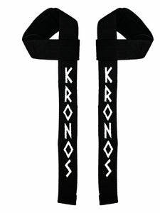 Kronos Weight Lifting Straps (Black/white text)
