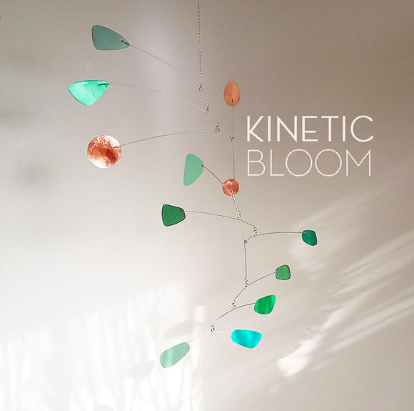 kinetic mobile in green and teal