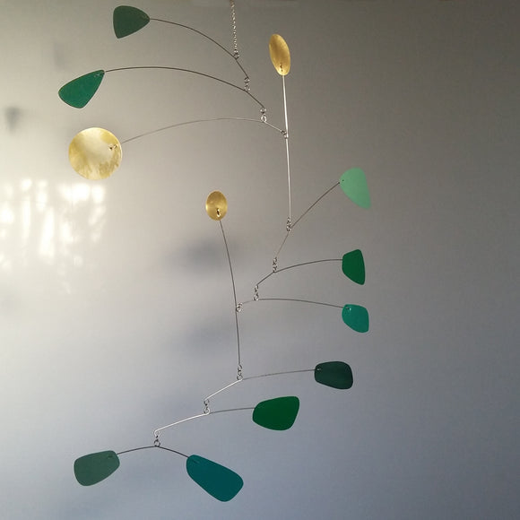FERN - Mid Century Green and Brass Kinetic Mobile Sculpture