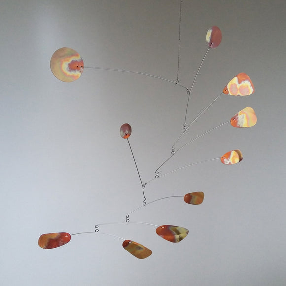 copper hanging kinetic mobile