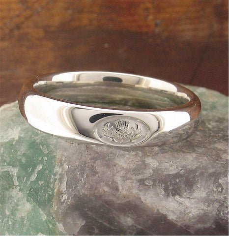 Scottish Thistle silver wedding rings | Handmade Scottish bands