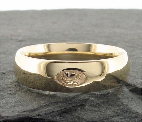 Welsh Dragon wedding rings | Court bands in gold, silver and platinum
