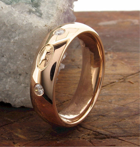 Gretna Anvil rose gold wedding rings | Scottish handmade bands