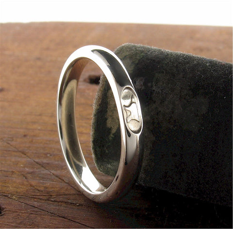 Gretna Green Anvil white gold wedding rings | Handmade Scottish bands
