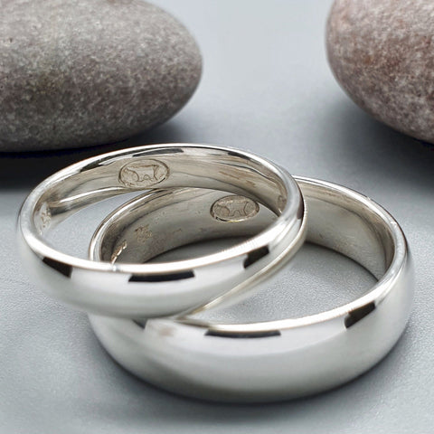 Secret Gretna wedding rings, original bands with a hidden mark