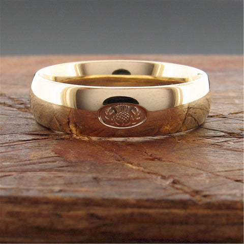 Scottish Thistle yellow gold wedding rings | Handmade Scottish bands