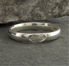 Wedding ring 3mm to 4mm Scottish Thistle white gold narrow band. - Gretna Green Rings