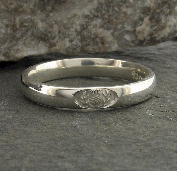 Platinum wedding ring 3mm to 4mm Scottish Thistle narrow band. - Gretna Green Rings