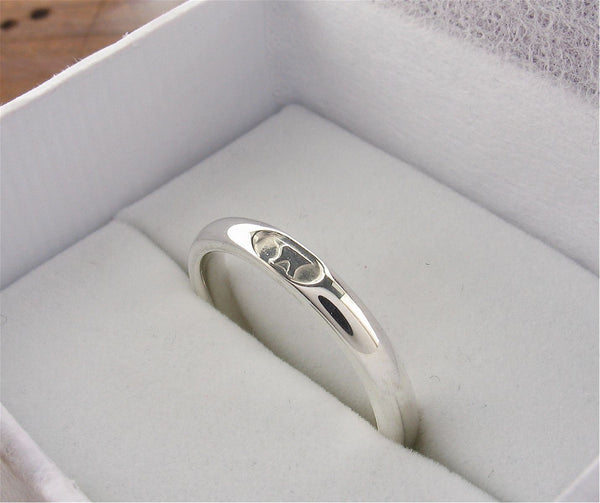 Silver wedding ring 3mm to 4mm Gretna Green Anvil narrow womens court