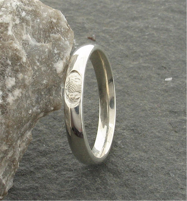 Scottish 3mm silver wedding ring front