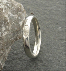 Silver wedding ring 3mm to 4mm Scottish Thistle narrow womens band - Gretna Green Rings