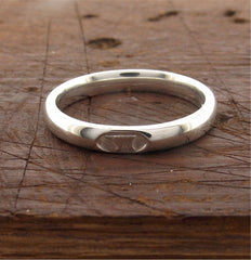 Silver wedding ring 3mm to 4mm Gretna Green Anvil narrow womens court - Gretna Green Rings
