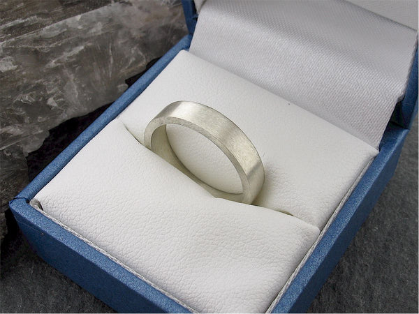White gold wide flat wedding ring. - Gretna Green Rings