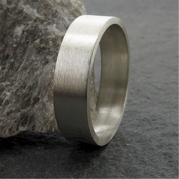 Silver wide flat wedding ring. - Gretna Green Rings