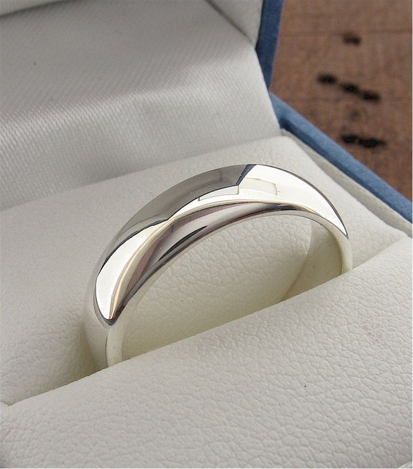 White gold wide court wedding ring. - Gretna Green Rings