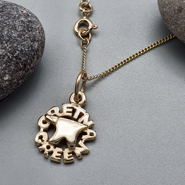 Gretna Green Anvil gold pendant with chain - Gretna Green Wedding Rings