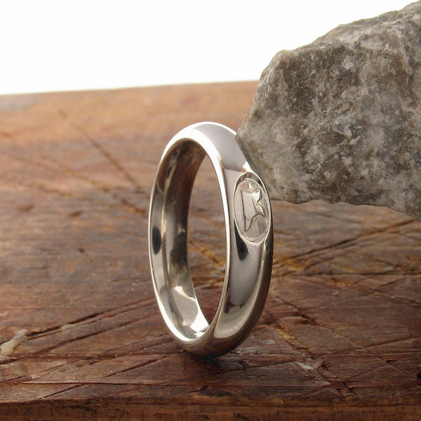Platinum wedding ring 3mm to 4mm Gretna Green narrow court - Gretna Green Rings