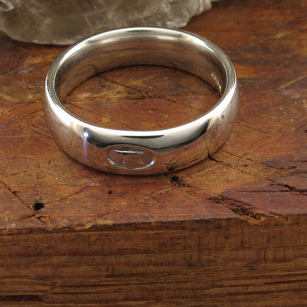 Wedding ring 5mm to 6mm Gretna Green medium white gold court - Gretna Green Wedding Rings