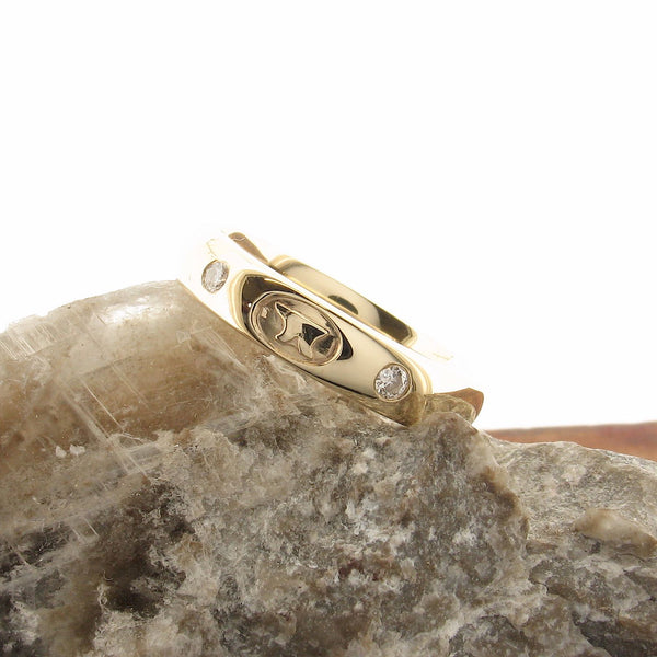 Diamond wedding ring 3mm-4mm Gretna Anvil narrow womens gold court - Gretna Green Rings