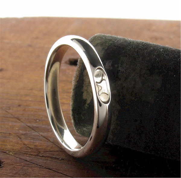 3mm silver Gretna Green Anvil wedding ring