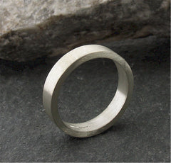 White gold narrow flat wedding ring. - Gretna Green Rings