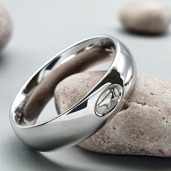 Gretna Green Anvil silver medium wedding ring - Gretna Green Wedding Rings