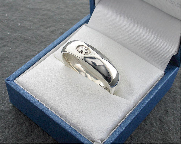 Irish Shamrock band, white gold handmade 6mm court wedding ring - Gretna Green Wedding Rings