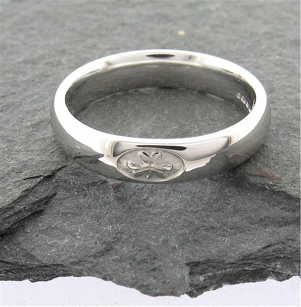 Irish Shamrock womens wedding ring 4mm wide handmade silver court band - Gretna Green Wedding Rings