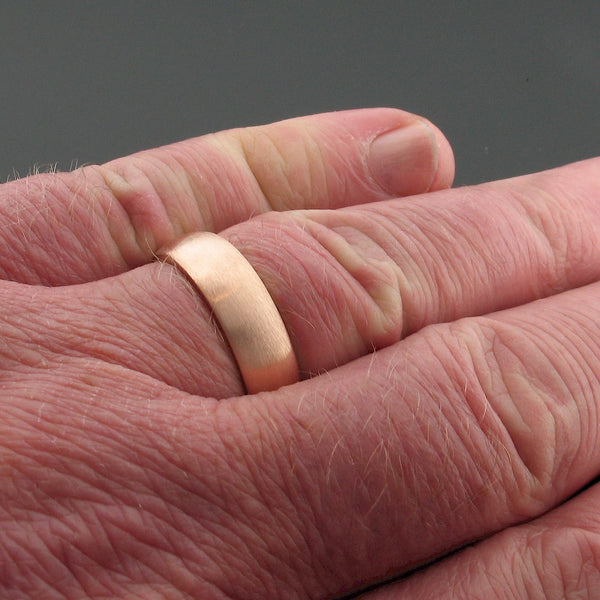 Rose gold wide court wedding ring. - Gretna Green Wedding Rings